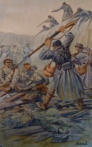 A. Gayraud Attaque de Beauséjour Champagne 20xbre 1914. Nettoyage de tranchées de 1er ligne allemande par les soldats de 7e colonial