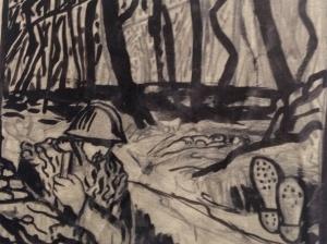 Lucien Jacques, Le soldat et la mort, lavis.