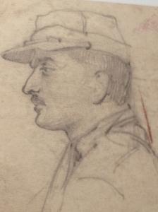 Lucien Jacques, autoportrait, crayon, 1915.