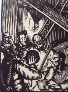 Lucien Jacques, Les soldats à table, bois, 1924