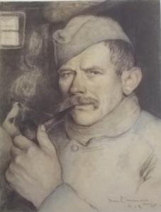 Jean Launois, Soldat à la pipe, 1918